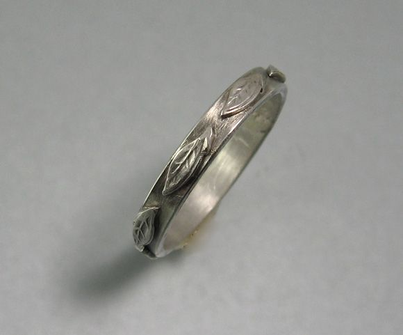 Artisan Wedding Rings | Leaf Wedding Ring In Sterling Silver Circle Of Leaves Wedding Band