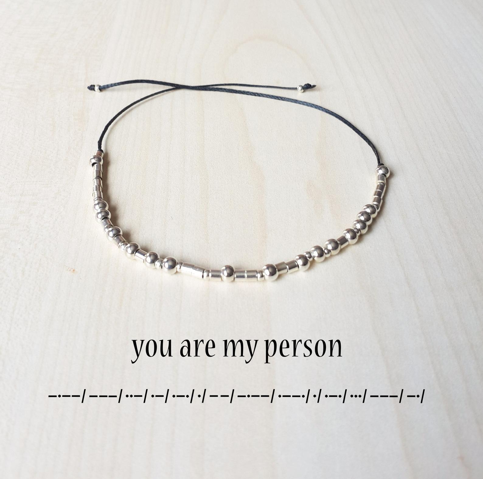 You Are My Person Bracelet Morse Code Bracelet Morse Code Etsy Jewelry Diy Bracelets Morse Code Bracelet Beaded Bracelets
