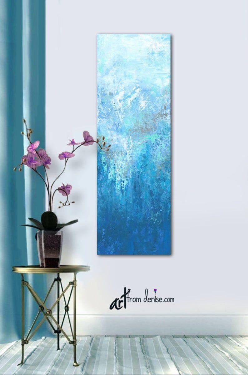 Tall Vertical Wall Art Canvas Abstract Long Narrow Gray Aqua Etsy Vertical Wall Art Abstract Blue Abstract Wall Art