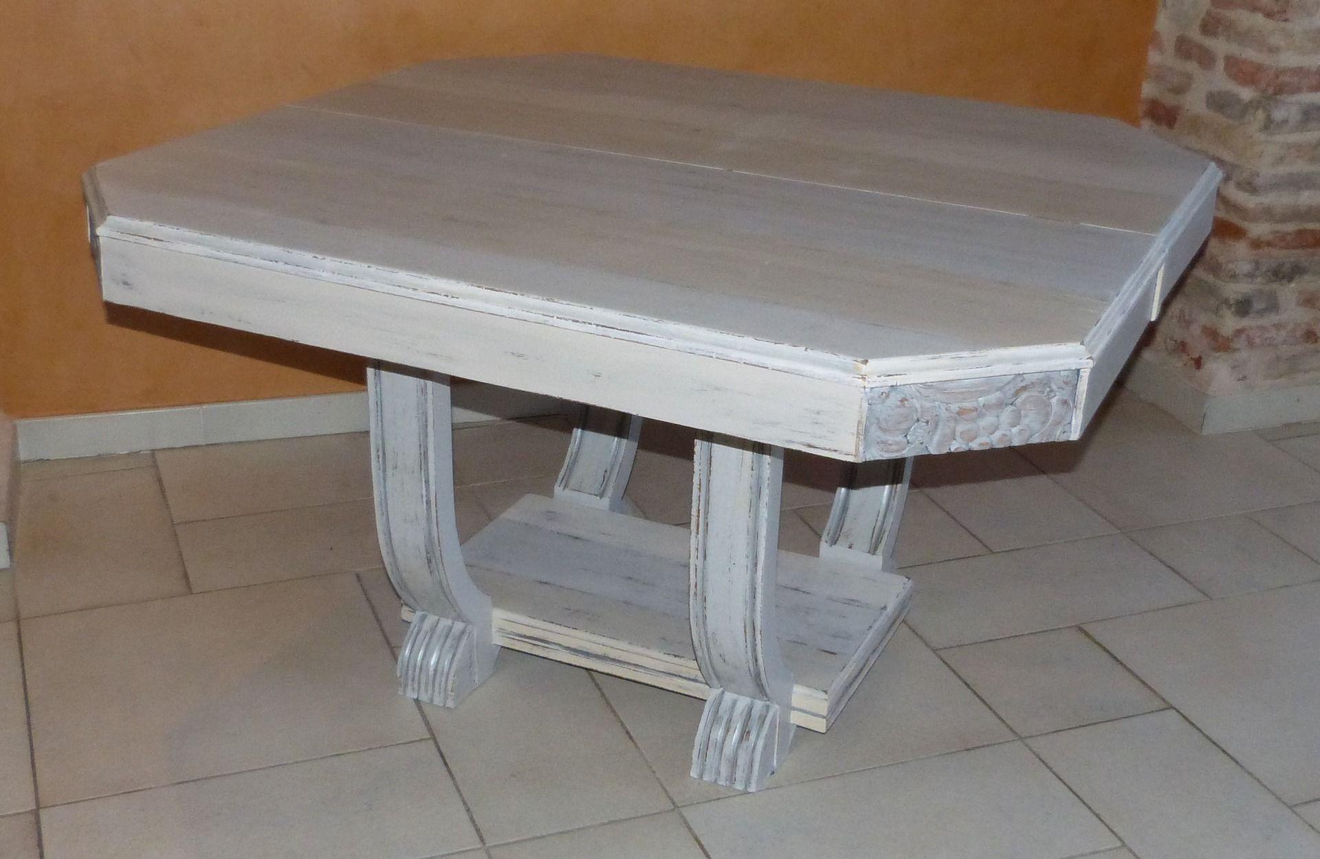 table art dco customise avec une patine grise et ivoire louise meubles et rangements