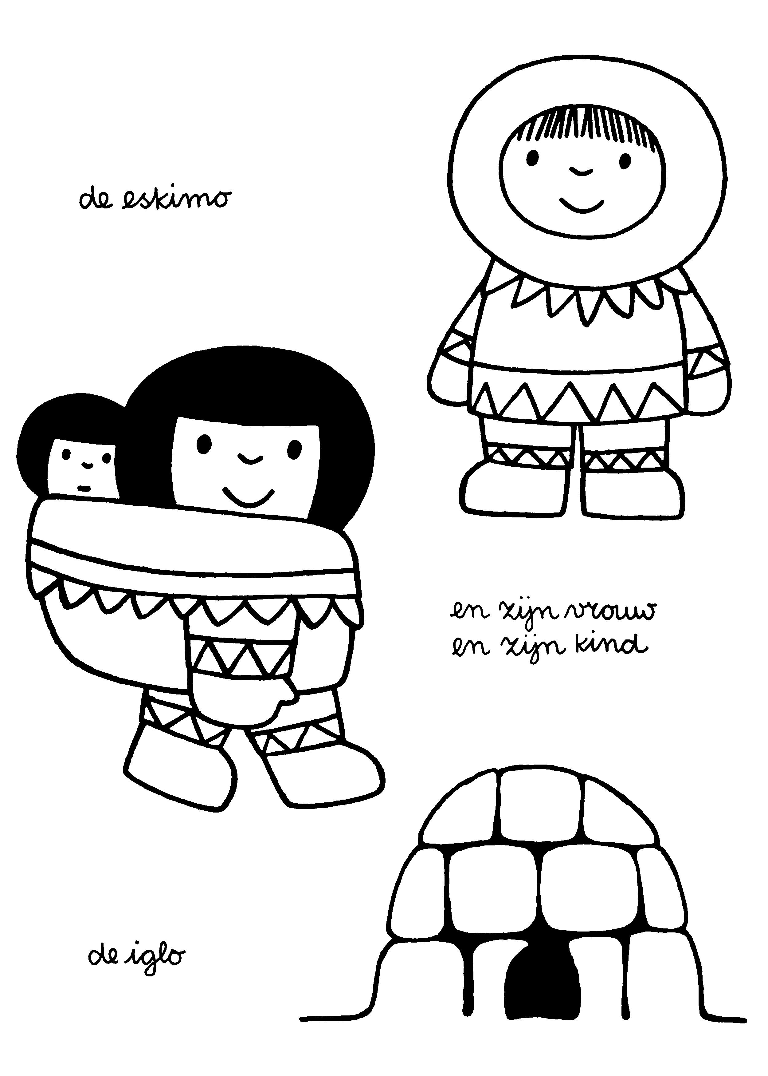kleurplaat de eskimo en zijn vrouw en zijn de iglo