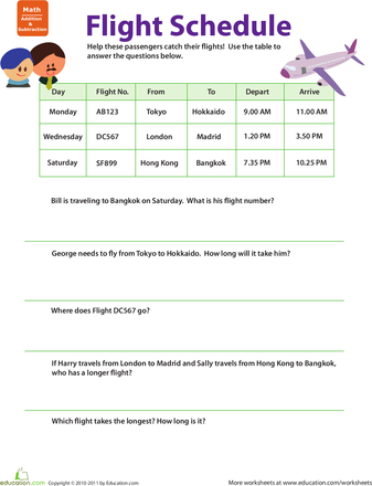 Worksheets Schedule Worksheet collection of reading a schedule worksheet sharebrowse planes and trains practicing schedules 1 and