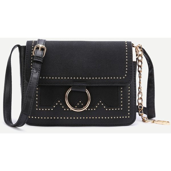 1430df65d6c22 Black Ring Detail Flap Shoulder Bag ( 21) ❤ liked on Polyvore featuring bags