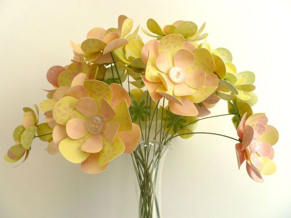 Paper Flower Bouquet  24 stems Pale Pink Yellow by FlightyFleurs, $50.00