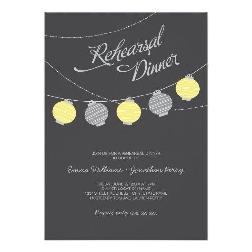rehearsal dinner yellow gray paper lanterns invitation pinterest