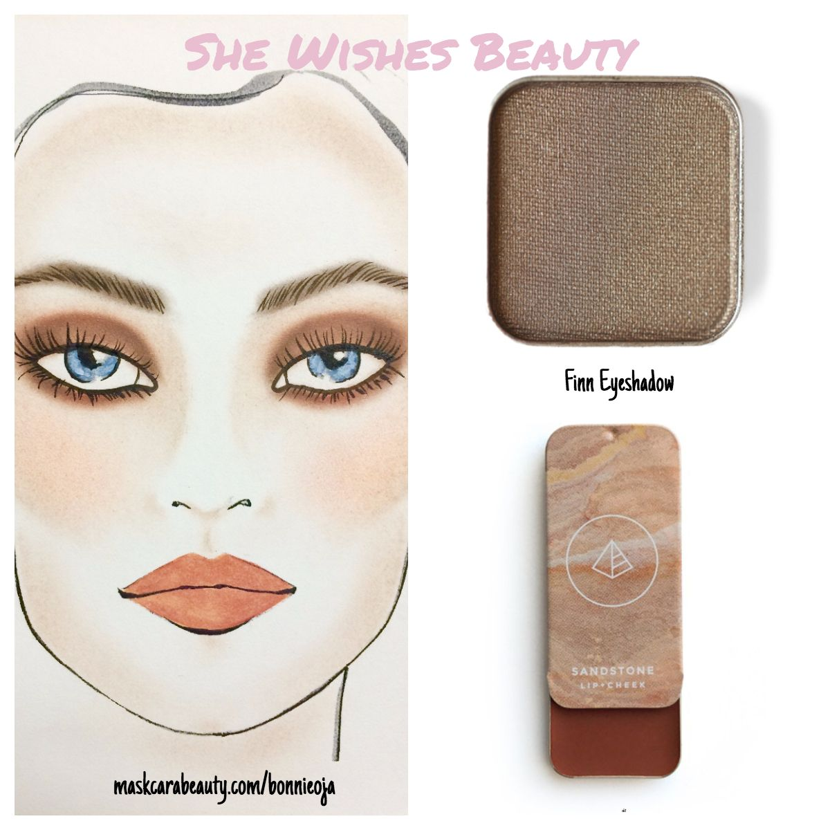 Two beautiful colors Finn eyeshadow and Sandstone used for