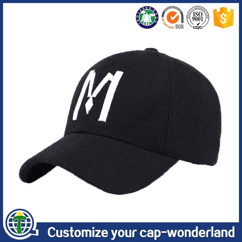 b1436cda094 Long bill blank black 100% wool fabric 6 panel golf cap embroidery men  baseball hats and cap with metal buckle