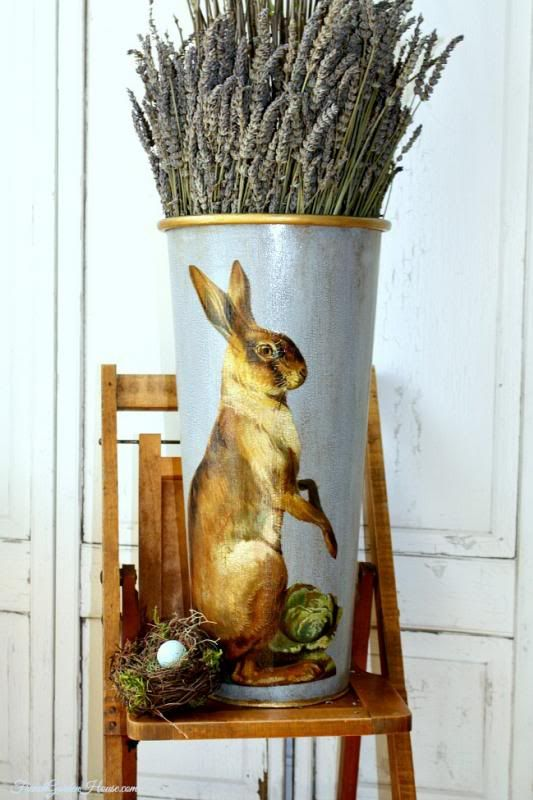 Limited Edition French Metal Flower Bucket French Hare ...