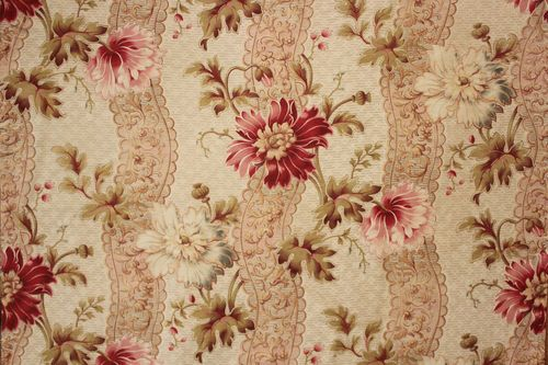 Antique French Belle Epoque fabric ~ lovely large scale Victorian design ~ floral and stripe ~ ideal for French interior ~ pastel tones textile