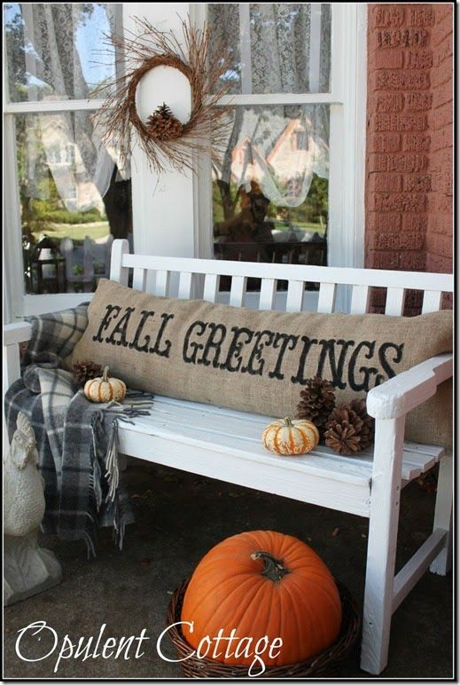 fall pillow from Opulent Cottage seen at Confessions of a Plate - classy halloween decor