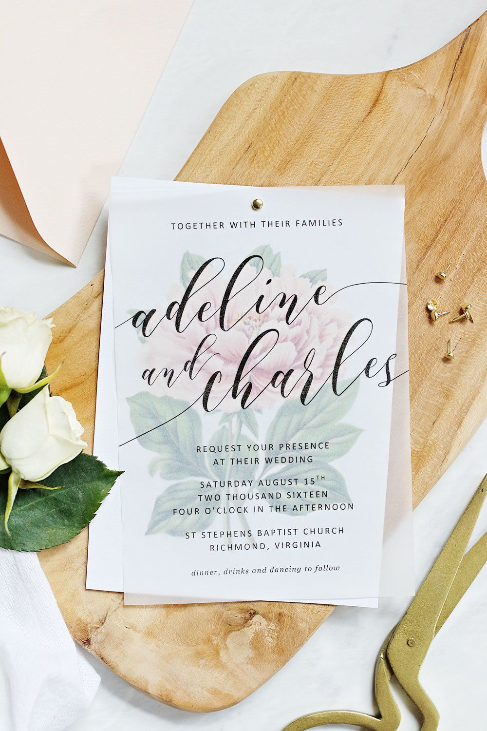 Make your own beautiful floral wedding invitations with nothing more ...