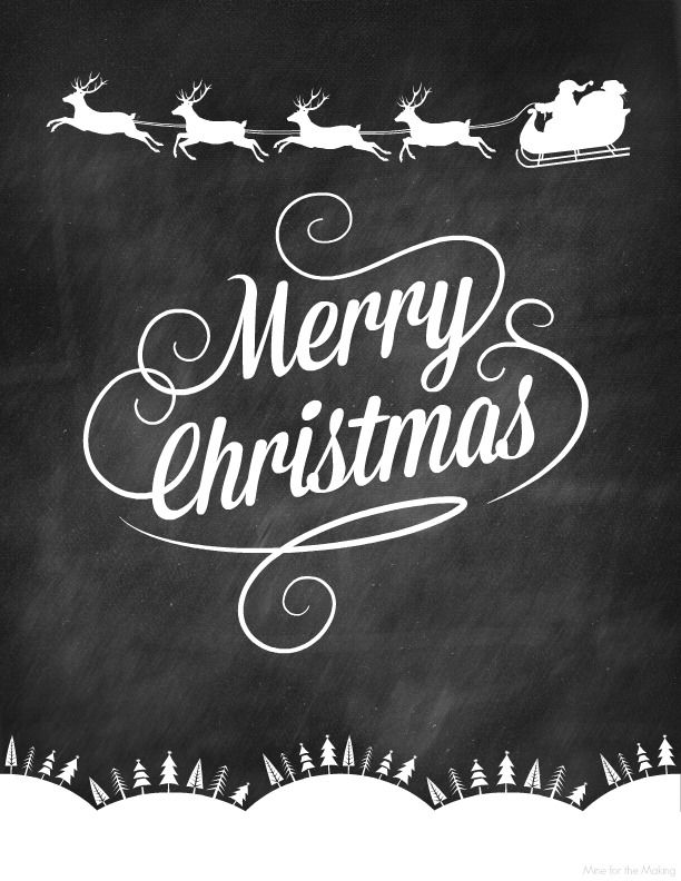 Three Chalkboard Christmas Prints | transfertechnik | Pinterest ...