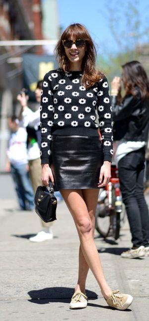Alexa Chung - jumper & leather