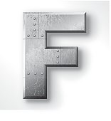 """Download Distressed Metal letter """"F"""". Elements are layered and ..."""
