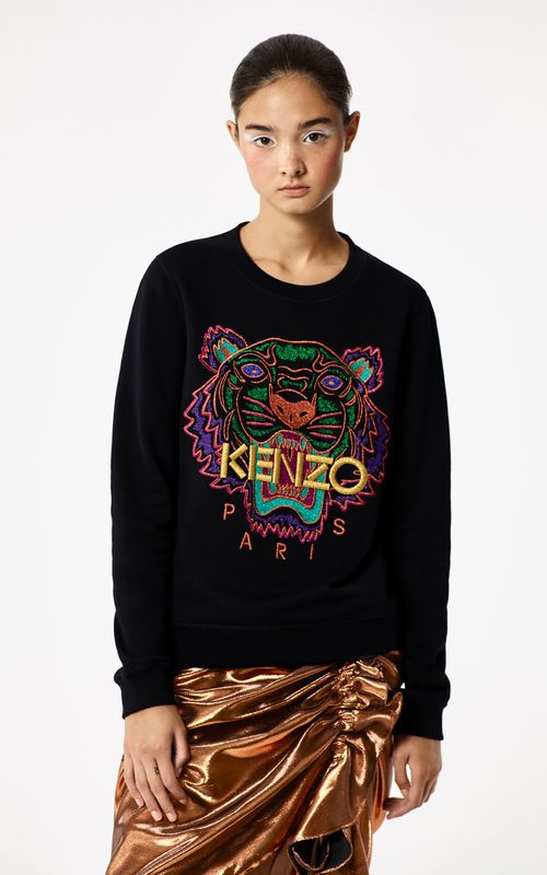 7328e75d5a9 BLACK 'Holiday Capsule Collection' embroidered Tiger sweatshirt for women  KENZO