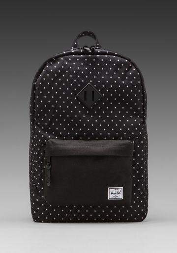 HERSCHEL SUPPLY CO. Heritage Polka Dot Backpack in Black/White - Herschel Supply Co.