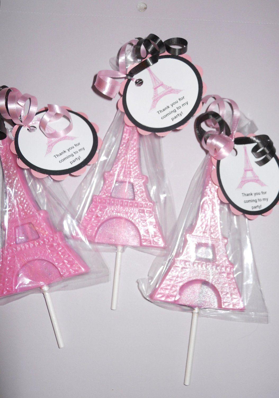 Paris themed birthday party ideas - 12 Eiffel Tower Paris Ooh La La Gourmet Chocolate Lollipops With Ribbon Kids Favors Wedding