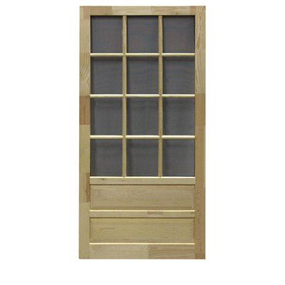 Screen Tight Hampton 12 Lite Wood Natural Wood Screen Door Common 32 In X 80 In Actual 32 In X 80 In Screen Door Wooden Screen Door Diy Screen Door
