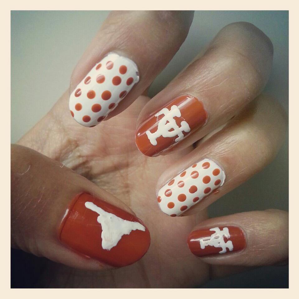 game day nails. hook \'em! #nailart #hookem #longhorns | nail art ...