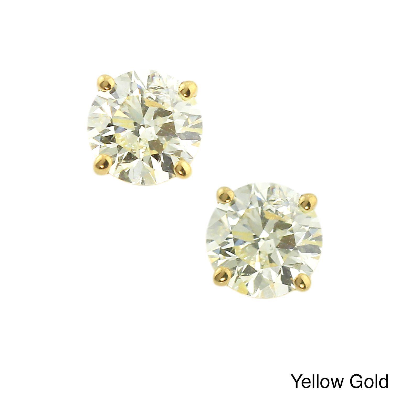 Auriya 14k Gold 4ct Tdw Clarity Enhanced Diamond Stud Earrings