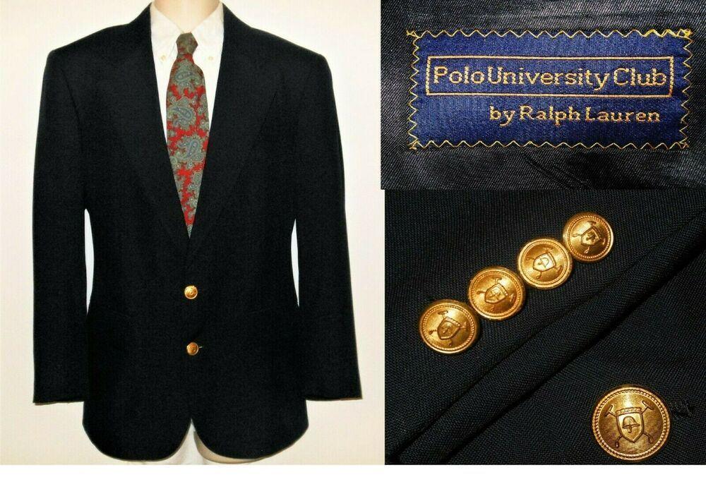 37r Gold Ralph Polo Button Wool Lauren Sport Coat Blazer Blue 38r ny80OmNwv