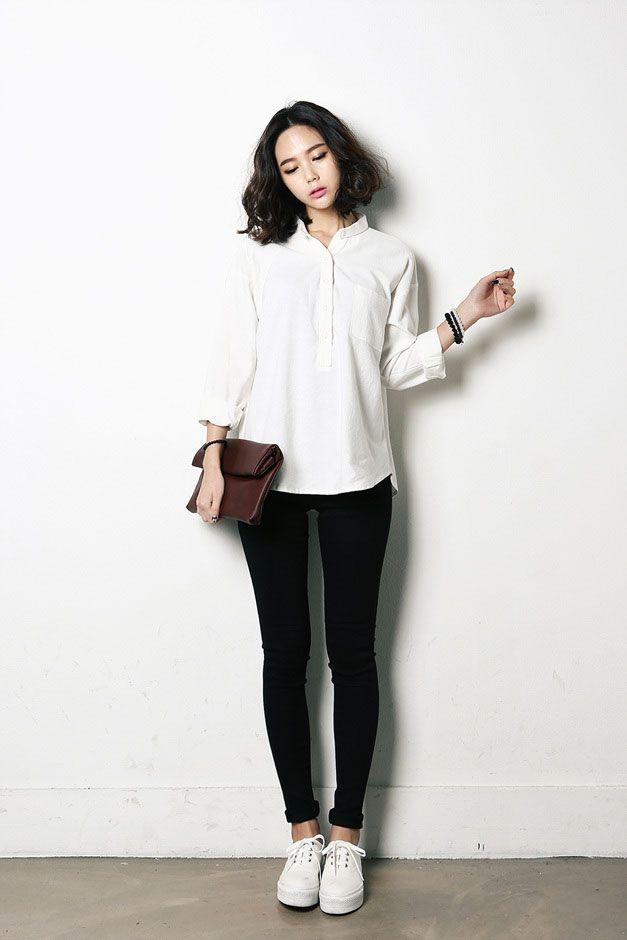 Open Button Collar Blouse Collar Blouse Korean And Korean Fashion