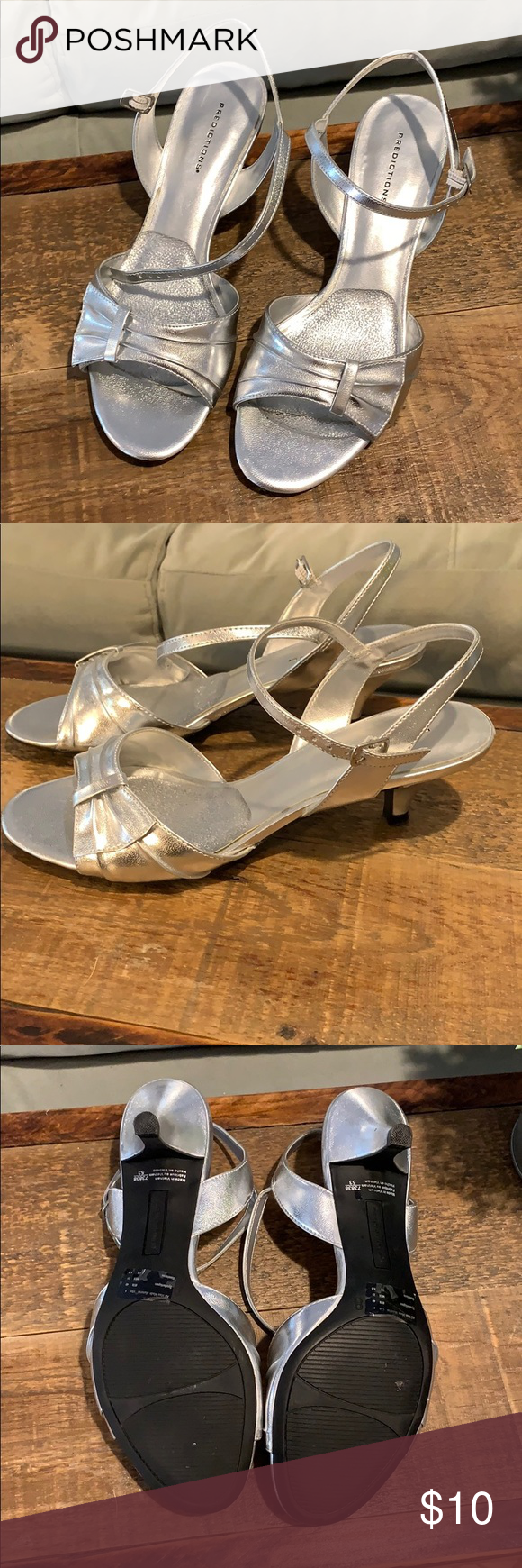 Silver Kitten Heels Worn Once Smoke Free Home Size 8 Silver With Ankle Strap And Cushion Insole Attached Predictions Silver Kitten Heels Heels Kitten Heels