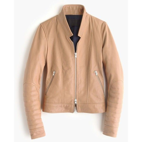 43b8d5a32 J.Crew Collection Standing-Collar Leather Jacket ($660) ❤ liked on ...
