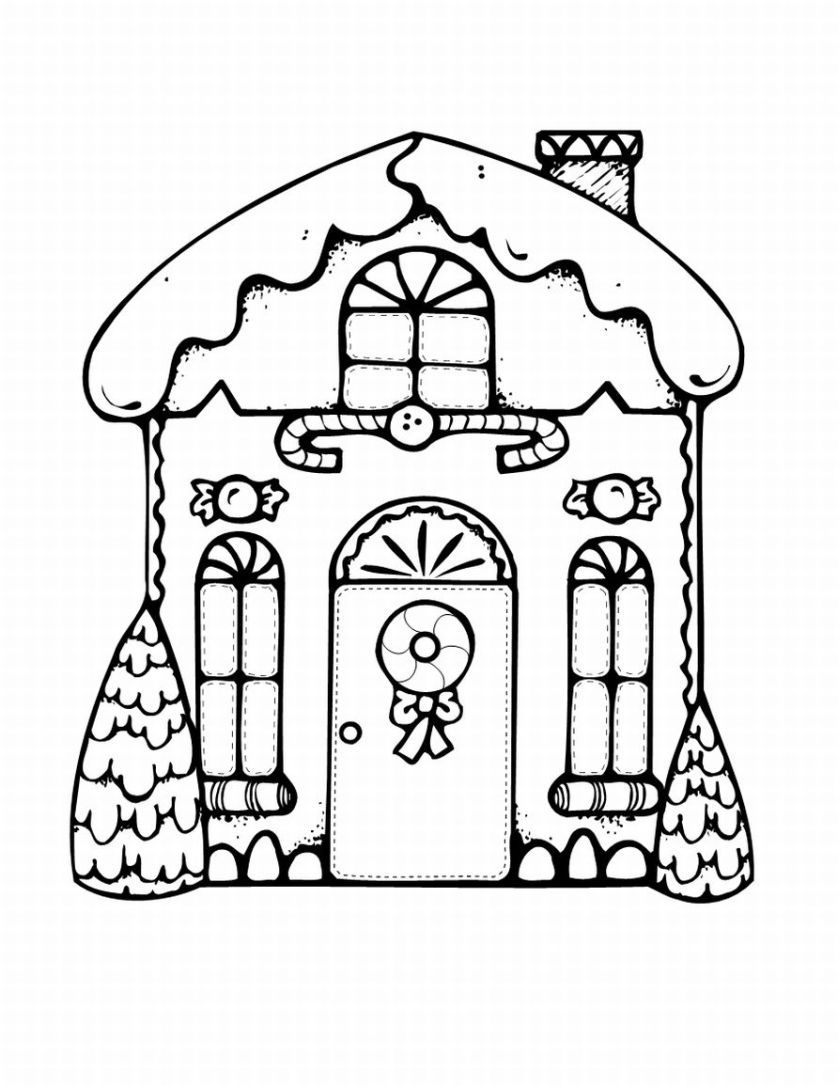 Cute gingerbread Christmas house in black and white to