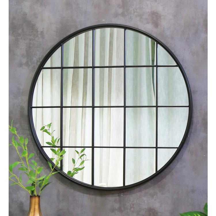 Brooklyn Black Industrial Round Window Wall Mirror 36 X 36 90cm X 90cm In 2020 Mirror Industrial Mirrors Metal Mirror
