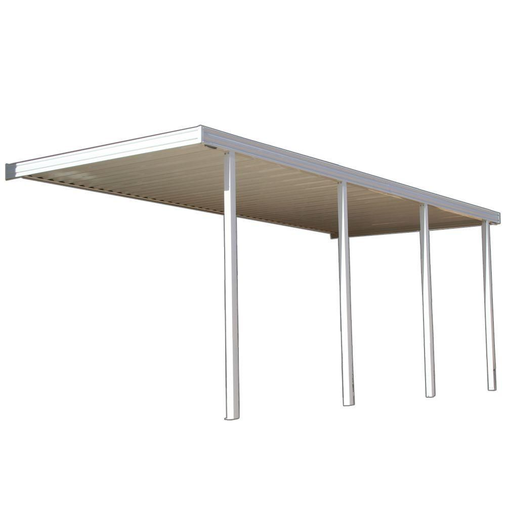 White Aluminum Attached Solid Patio Cover With 4 Posts