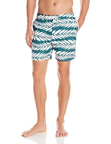 ed7368f908 Original Penguin Mens Palm Print Fixed Volley Swim Trunk Mediterranea Green  34 ** Find out more by clicking the VISIT button