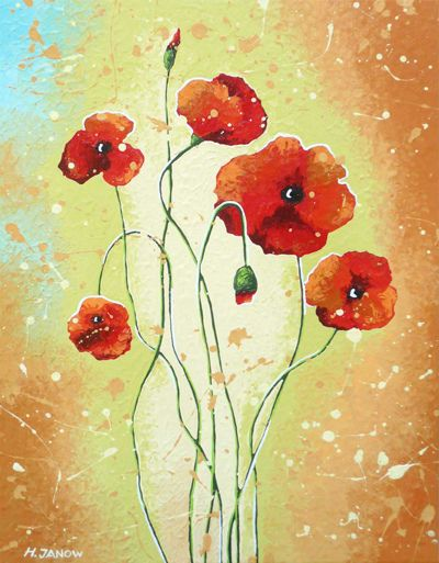 Original Red Poppies Flower Painting | Whimsical, Watercolor and ...