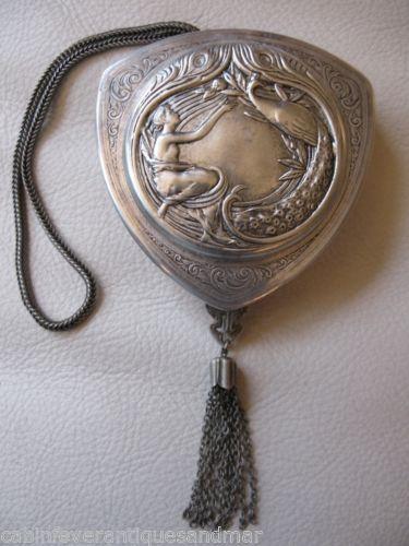Vintage Art Nouveau Deco Woman Peacock Mesh Chain Tassel Silver T Purse Compact
