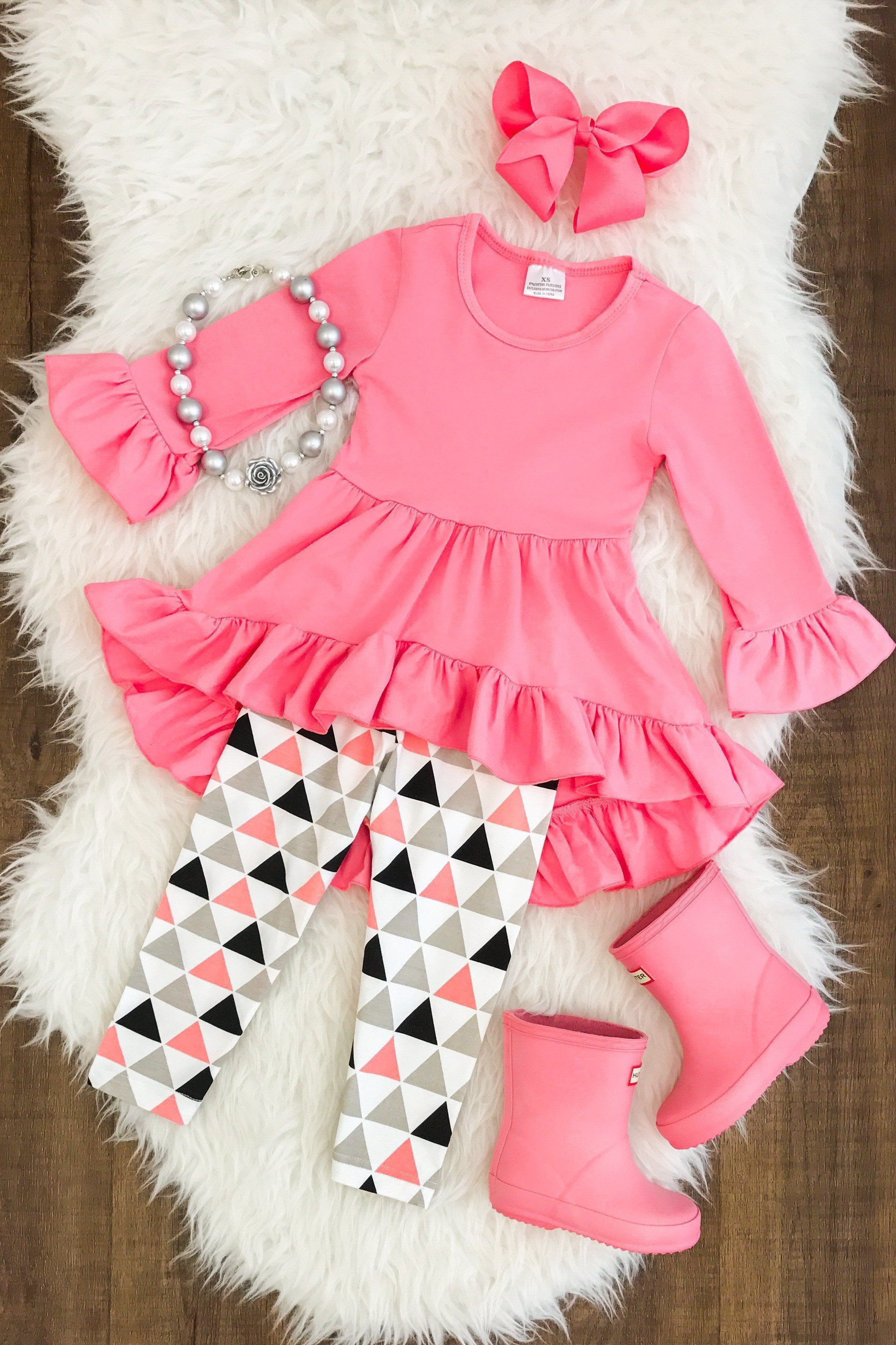 PINK Modern Triangle Hi Low Tunic Ruffle Set