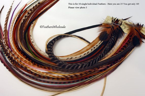 Extra long feather extensions hair feathers back2basics grizzly 10 do it yourself hippie hair accessories hair feather extensions natural mix of extra long hair solutioingenieria Image collections