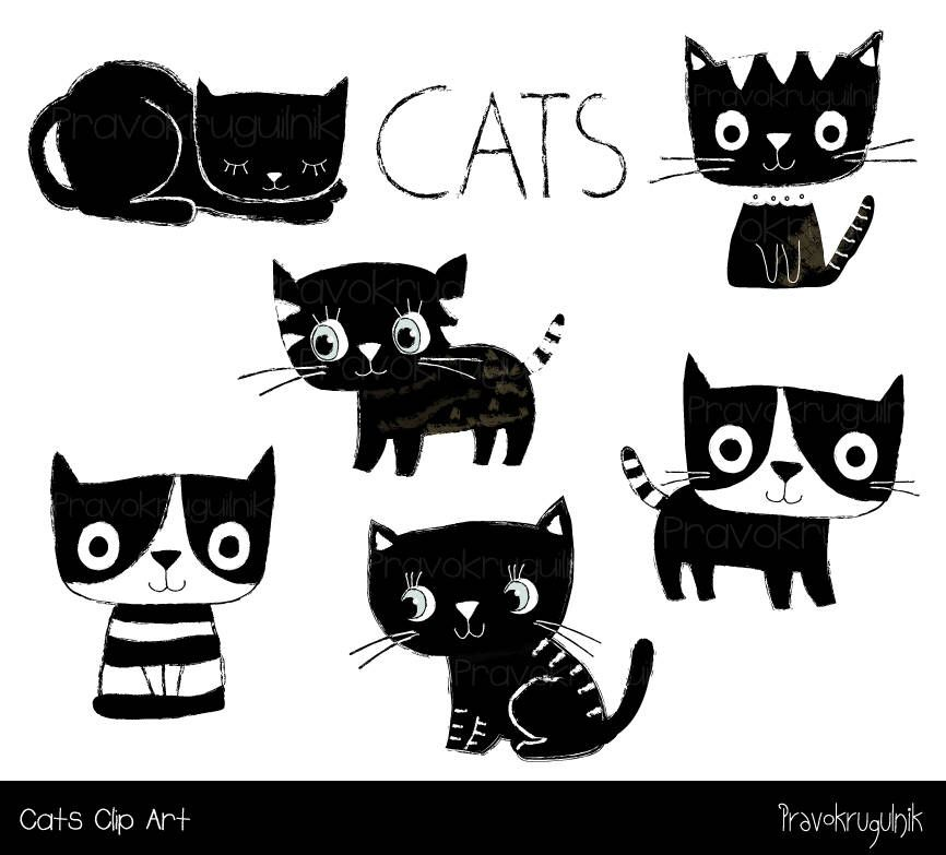 Cute Cat Clipart Black And White Cat Clip Art Kawaii Kitty Etsy Cat Clipart Black And White Cartoon Animal Clipart