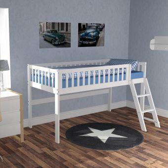 hochbett halbhohes bett chalet wei holz 90x200cm h he 115cm einrichtungsideen. Black Bedroom Furniture Sets. Home Design Ideas