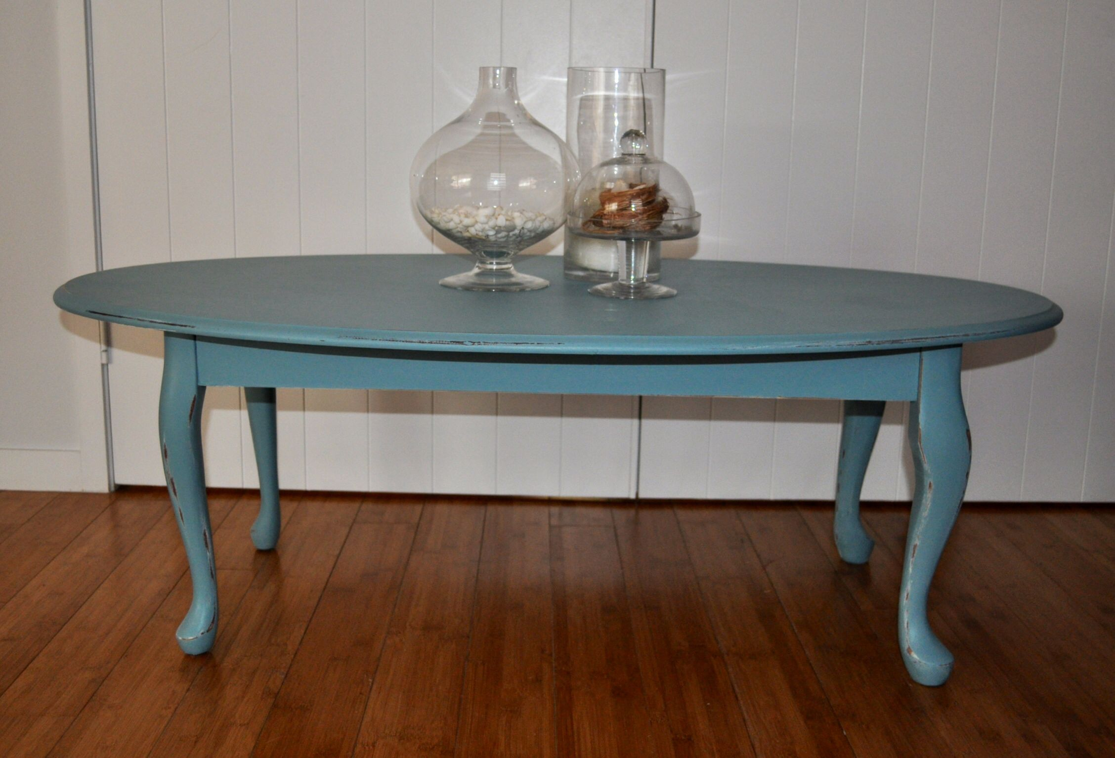 Red Oval Coffee Table Teal Blue Shabby Chic Queen Ann Legs