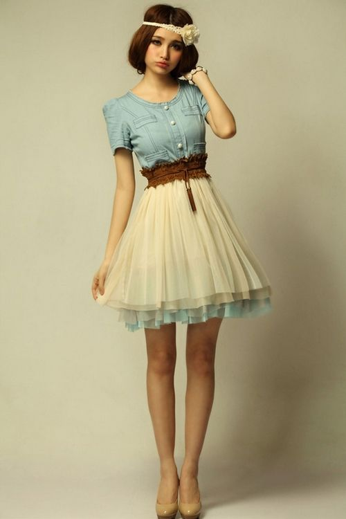 Denim and Chiffon Cute Semi Formal Dresses | Fashionsup ...