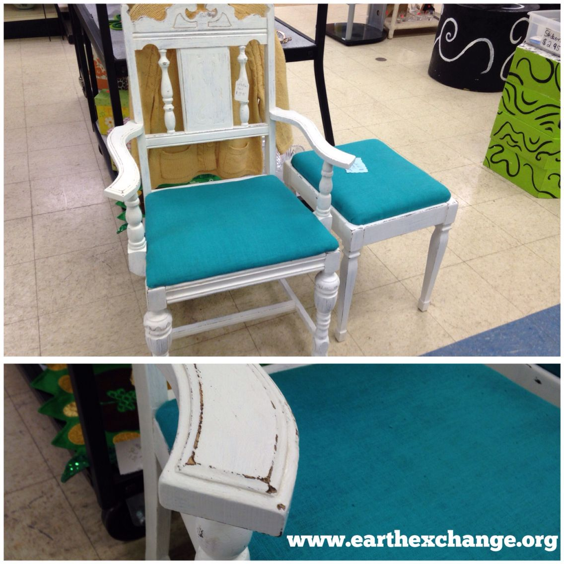 DIY shabby chic chair and stool. White paint, teal fabric + a little ...
