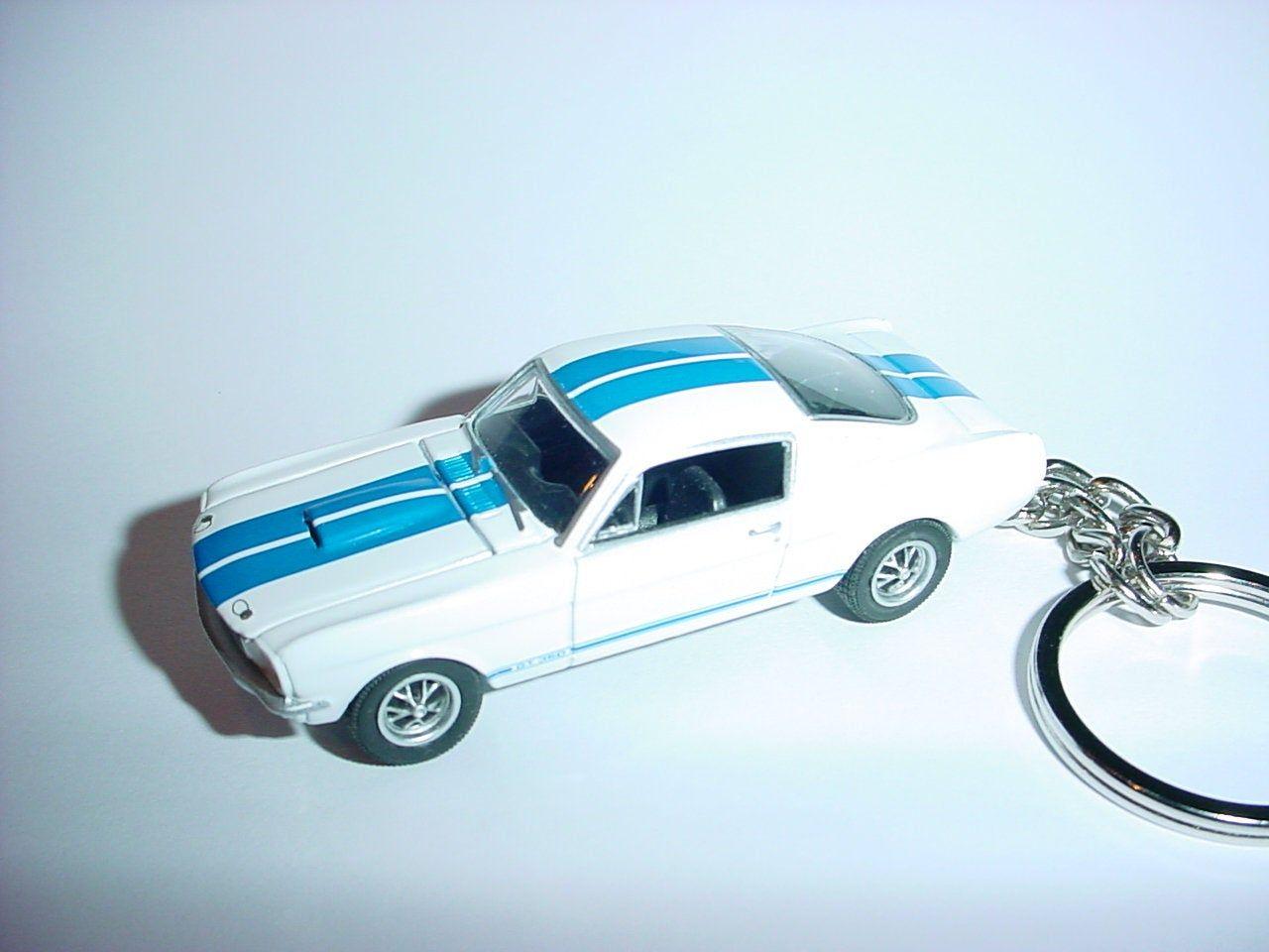 3d White 1966 Mustang Shelby Gt350 Custom Keychain Keyring Key