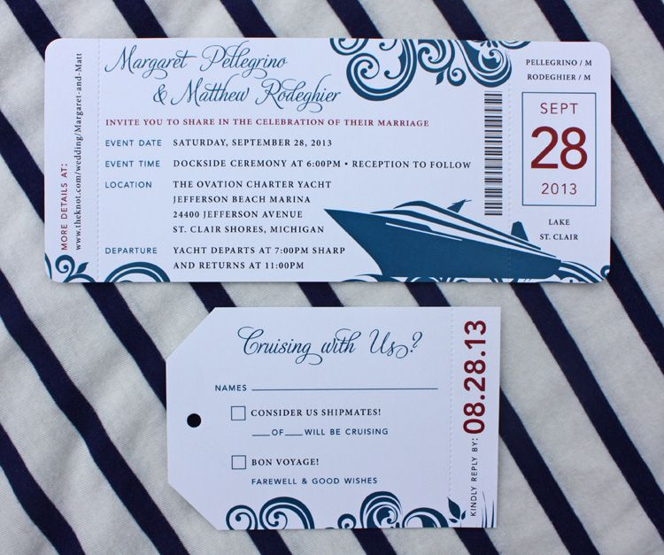 red blue swirl yacht cruise boarding pass wedding invitations
