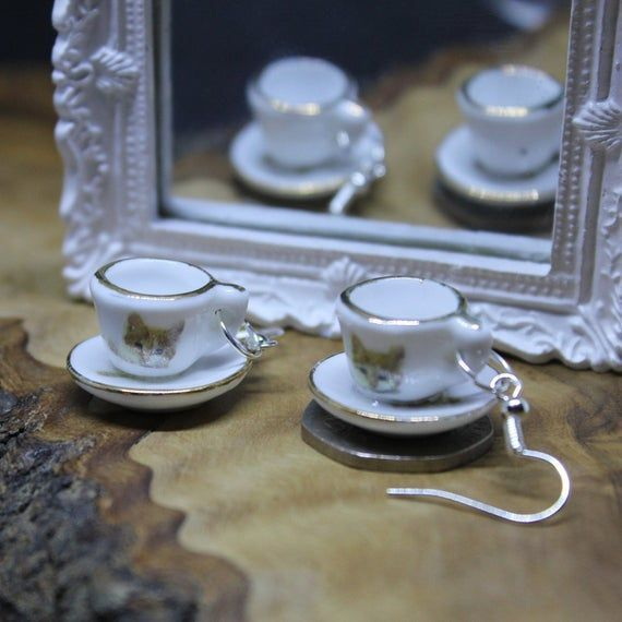 Miniature porcelain tea cup & saucer, drop earrings. Upcycled Dolls House accessories. Ginger Kitten #gingerkitten Miniature porcelain tea cup & saucer, drop earrings. Upcycled Dolls House accessories. Ginger Kitten #gingerkitten