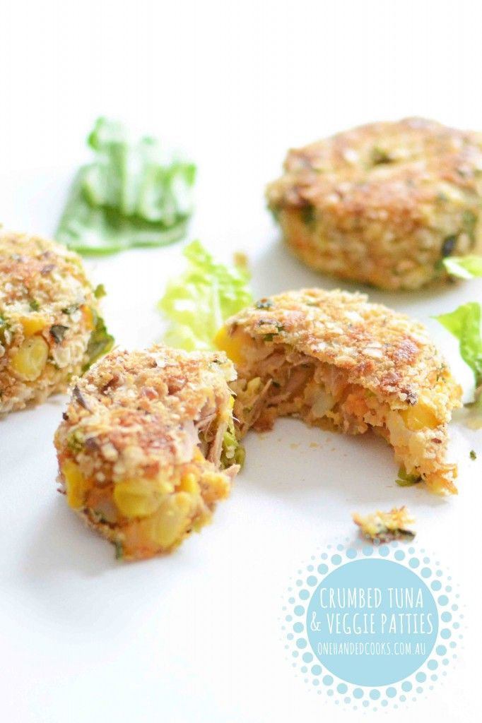 {NEW} CRUMBED TUNA AND VEGGIE PATTIES: Crumbed in a mix of breadcrumbs and quinoa these are a fast and versatile little meal packed full of nutritional goodness – and a great finger food for toddlers.#onehandedcooks
