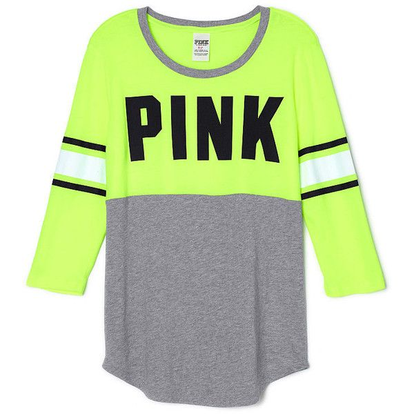 PINK Football Tee (€30) ❤ liked on Polyvore featuring tops, t-shirts, shirts, green, green shirt, green jersey, curved hem t-shirt, shirts & tops and pink jersey
