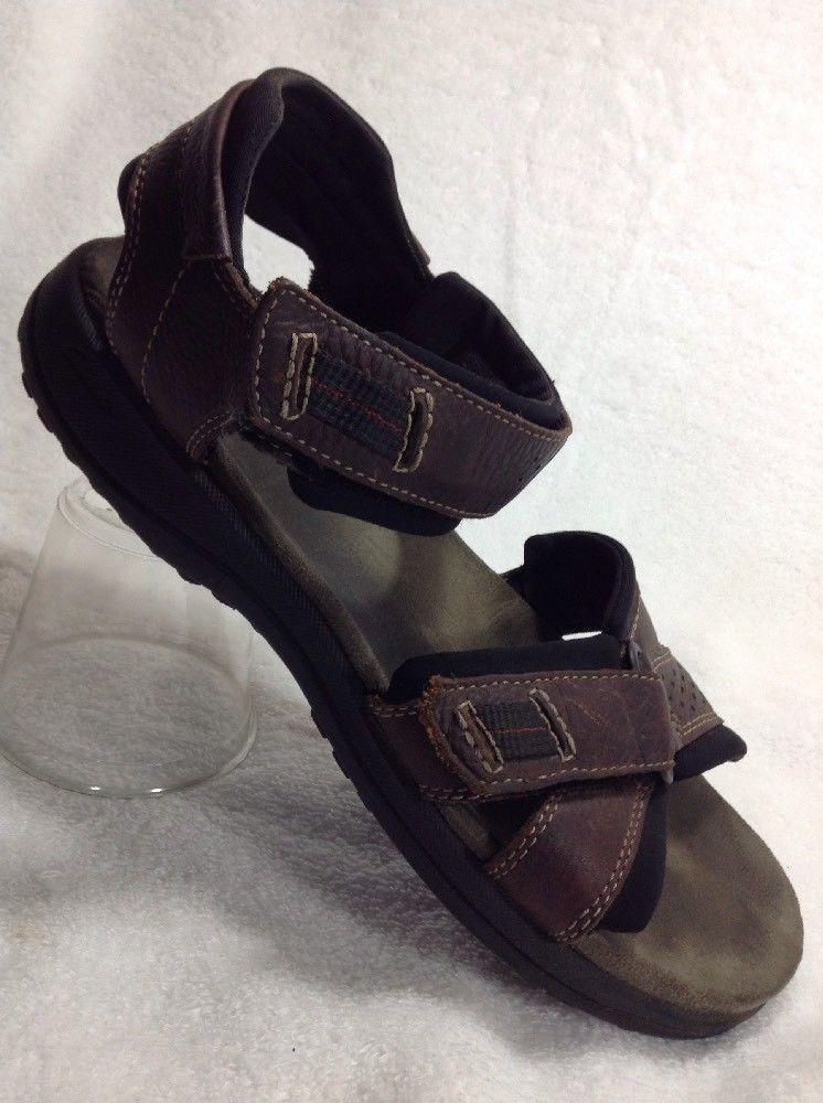 bdefa01ede9b Clarks 9 Mens Brown Leather Sandals Keating 78333 Adjustable EU 42.5 Sport   Clarks  SportSandals