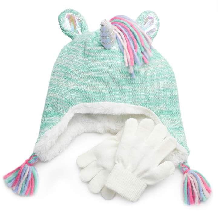 e5bc92165 Girls 4-16 SO® Unicorn Hat & Gloves Set   Products   Unicorn hat ...
