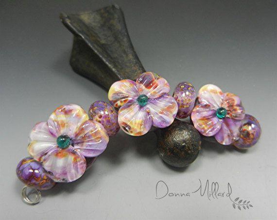 SRA HANDMADE LAMPWORK Bead set glass earrings by DonnaMillard