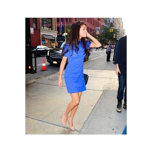 Selena Gomez shows off legs in a short blue dress in New York ❤ liked on Polyvore featuring selena